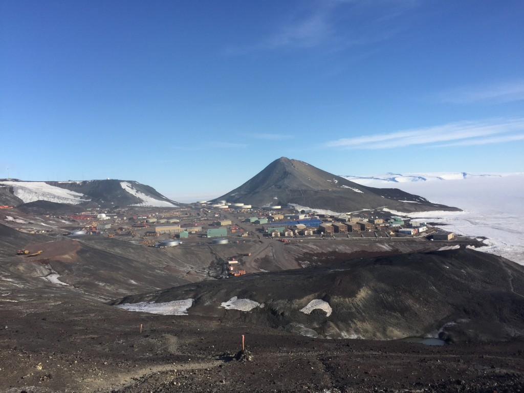 A very different and ice-free McMurdo base, taken from the Hut Point Trail.
