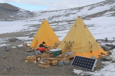 Key to the whole operation are two Bright yellow Polar Scott tents u2013 p ... & Camping Antarctica-style u2013 UCSB Geologists On Ice