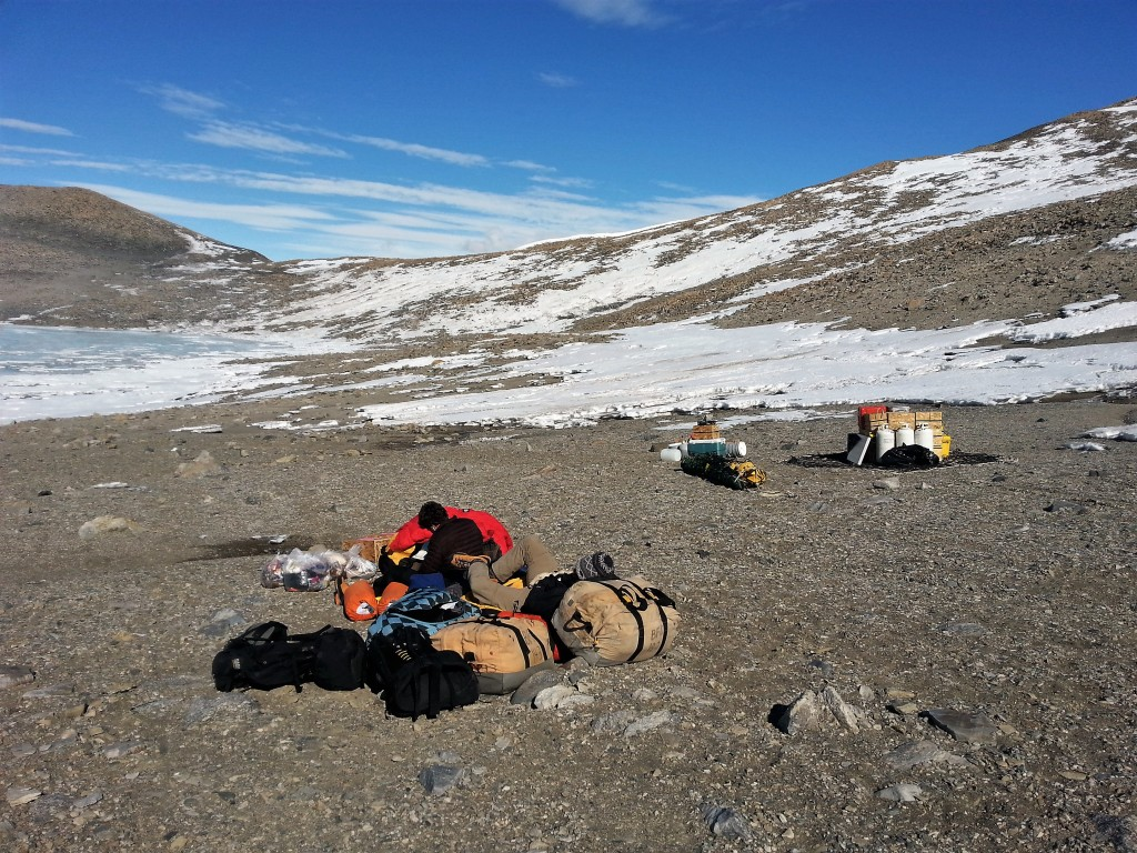 Waiting for the Bell 212 to take us and our camp gear back to McMurdo station.