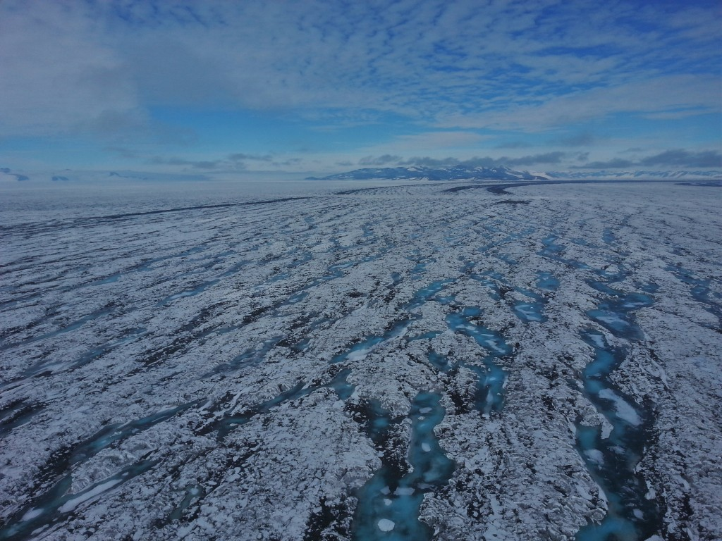 Flying over the Ross Ice Shelf toward McMurdo station.