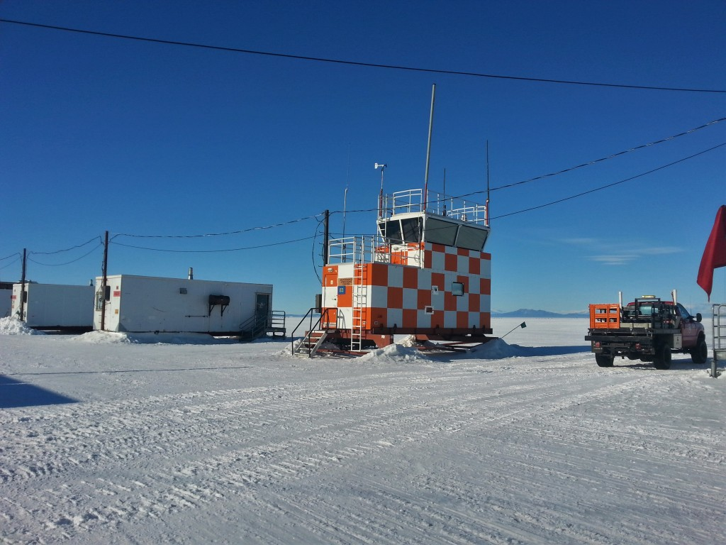 A makeshift air-traffic-control tower at the ice runway.