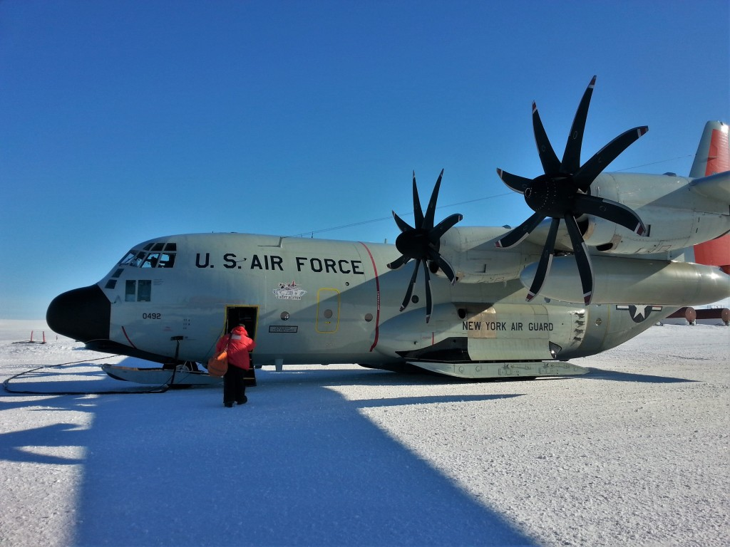 "The LC-130 ""Hercules"" that flew me back to Christchurch."