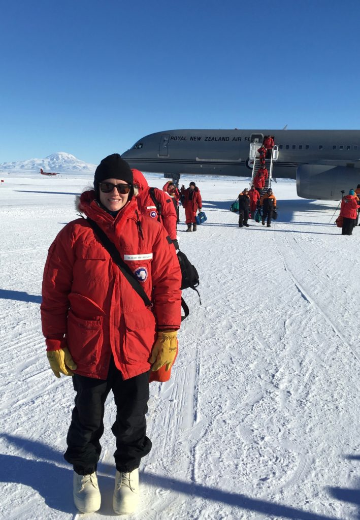 Elizabeth just after landing in Antarctica