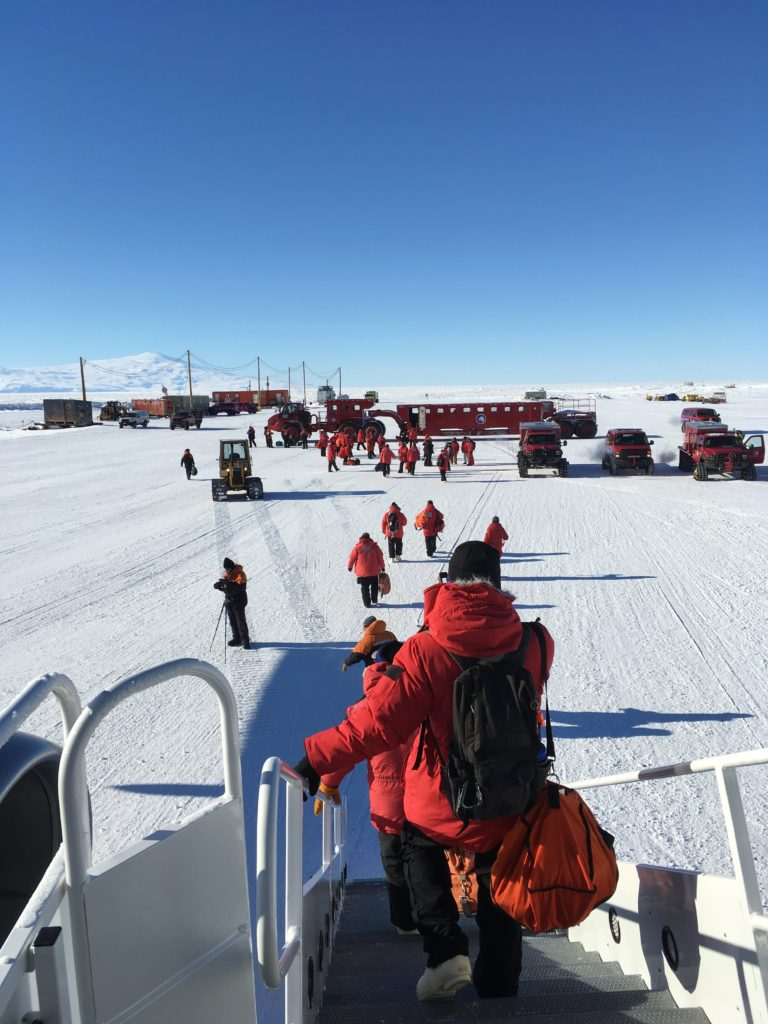 Stepping off the plane to my first view of Antarctica